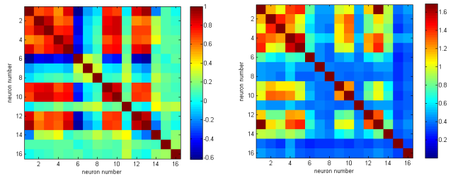 Left: Correlation analysis matrix. Right: Mutual information analysis matrix. Note that the values on the the diagonal are higher and not all the same.